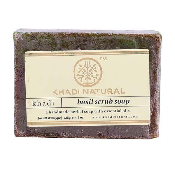 Khadi Herbal Basil Scrub Soap